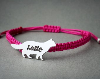 Personalised CAT BRACELET / LONGHAIRED Cat Bracelet / Cat Bracelet / Kitty Cat Bracelet  / Silver, Gold Plated or Rose Plated.
