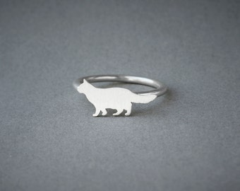 CAT LONGHAIRED RING / Cat Longhaired Ring / Silver Dog Ring / Dog Breed Ring / Silver, Gold Plated or Rose Plated.