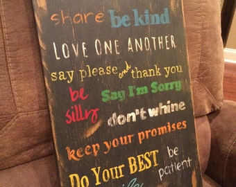 Measures 13 inches wide and 23 inches tall. Family rules sign. Distressed wood sign