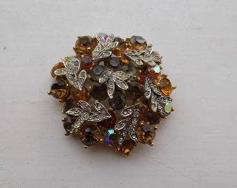 1950/60's Vintage Signed Sphinx Rhinestone Brooch Autumnal Colours