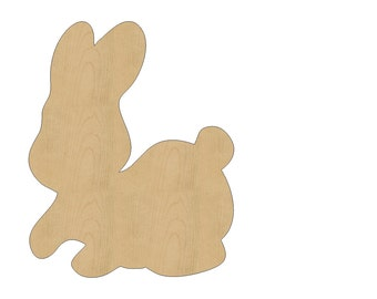 Rabbit Cutout Shape Laser Cut Unfinished Wood Shapes, Craft Shapes, Gift Tags, Ornaments #795 All Sizes