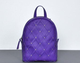 "Purple leather backpack ""Archer"""