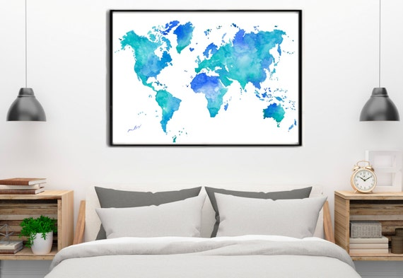WORLD MAP WATERCOLOR Turquoise and blue Large Wall Art Print Watercolour Poster Gift Homedecor Birthday Wedding gift art Handmade.Mapa mundi