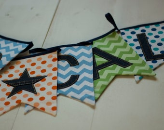 Personalised Little Boys Geometric Denim Bunting