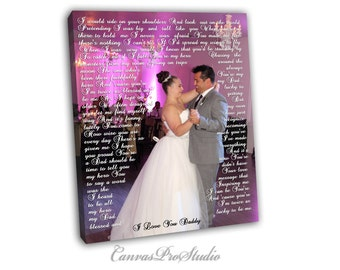 Father Gift on Cnavas/ Personalized Wedding Canvas Print/ Father of bride/ Gift for father Gift for bride/Custom Wall Decor, parents gift