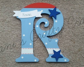 Handmade Personalised Boys Spotty Blue Red White Door Sign Plaque Wall Letter with Stars And Name