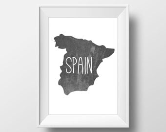 Spain Black Chalkboard Printable Art, Spain Print, Spain Art, Spain Wall Art, Modern Art,