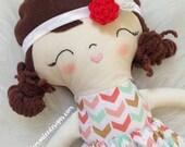 "Customizable Dress Up Cloth Rag Doll. Penny - 15"" Tall Girl Doll. Toddler Pretend Toys. Nursery Decor. Personalized Handmade Stuffed Doll."