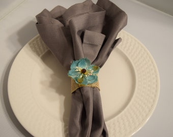Burlap Blue Flower Napkin Rings