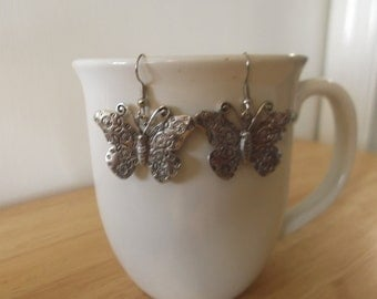 Antique Silver Butterfly Earrings