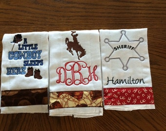 Set of 3 Embroidered Cowboy Cloth Diaper Burp cloths