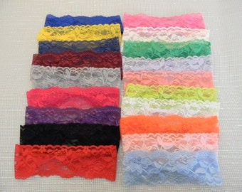 "19 Lace Headbands, Interchangeable 2"" Lace Headbands, Stretch Lace Headbands, Wholesale Headbands"