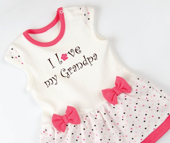 I Love My Grandpa Baby Girl Bodysuit Dress Pink Cream Polka
