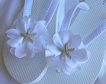 Starfish White Satin Leaf Flower Bridal Flip Flops, Bridal Sandals, Beach Wedding Sandals, Wedding Flip Flops
