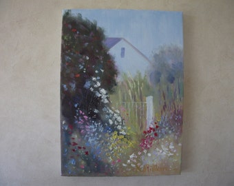 COUNTRY GARDEN, small oil painting, garden, colourful, bright, nostalgia, signed by artist, small painting, wall art, New Zealand art, decor