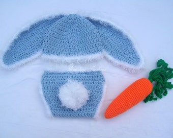 Crochet Bunny Hat,Diaper Cover and Carrot Set/Crochet Carrot/Newborn Photo Prop/Newborn Prop/Crochet Bunny Hat/Bunny Diaper Cover/Rabbit