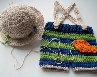 Crochet Baby Boy Fisherman Set/Crochet Newborn Baby Fisherman Hat and Fish Set/Photography Prop/Baby Shower Gift/Infant Halloween Costume