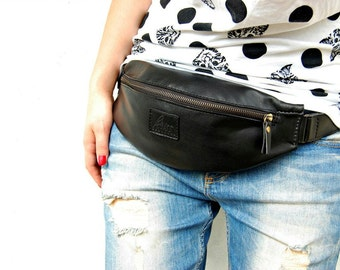 SALE! Leather Fanny Pack Black Leather Waist bag black waist bag utiliy belt bag hip belt bum bag leather pocket bag black hip bag travelbag