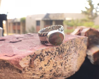 Handmade Sterling Silver and Wyoming Turquoise Ring with Rope Accented Band