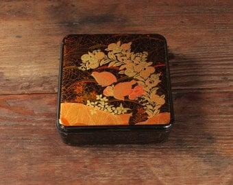 Vintage Black Lacquer Box, Vintage Asian Jewelry Box, Jewelry Box with Birds, Vintage Black Jewelry Box