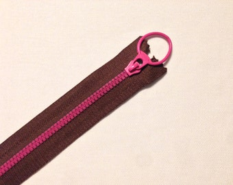 Cerniera lampo bicolore, cursore ad anello in colori assortiti - 30 cm