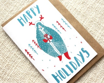 A6 Happy Holidays Greeting Card, Christmas Recycled Greeting Card, Inuit Illustration Card