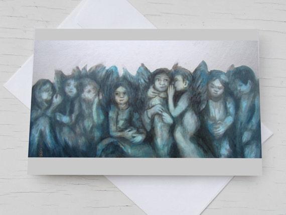 Congratulation card angels, guardian angel silver card, christening card angels, congratulations birth, Blue angel postcard, painted angels