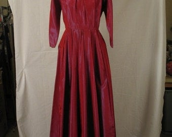 On Sale 1950s Holiday Dress Cranberry Taffeta Formal