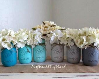 Distressed Mason Jars, Painted Mason Jars, Mason Jar Vases, Teal And Gray, Country Decor, Teal photo - 7