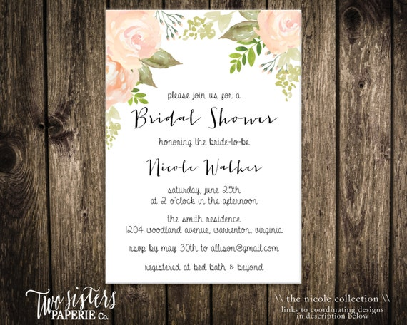 Printable Bridal Shower Invitation - Floral Watercolor Invitation