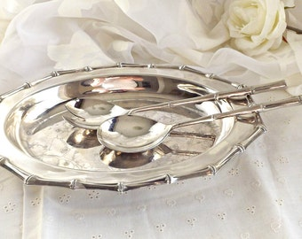 Silver Plated Serving Dish with Serving Tongs, Vintage Dining, Silver Serving Platter with Tongs, Vintage Serving Dish, Made in Canada