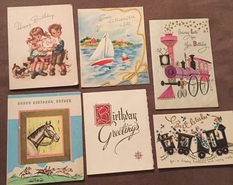 Vintage lot of six used birthday greeting cards