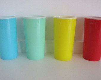 Colourful Set of Vintage Plastic Beakers