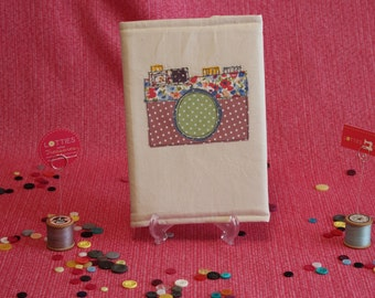 Free motion machine embroidered and appliqué embellished notebook cover depicting a Camera by Lotties Little Treasures