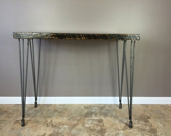 42 inch high Reclaimed Wood  Table with leveling Hairpin Legs, Urban  Wood Furniture, console Table,