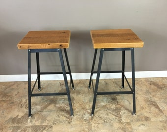 Bar Stools - Reclaimed Urban Wood Industrial Bar Stools-Handmade In The U.S.A - Set of 2 FAST SHIPPING