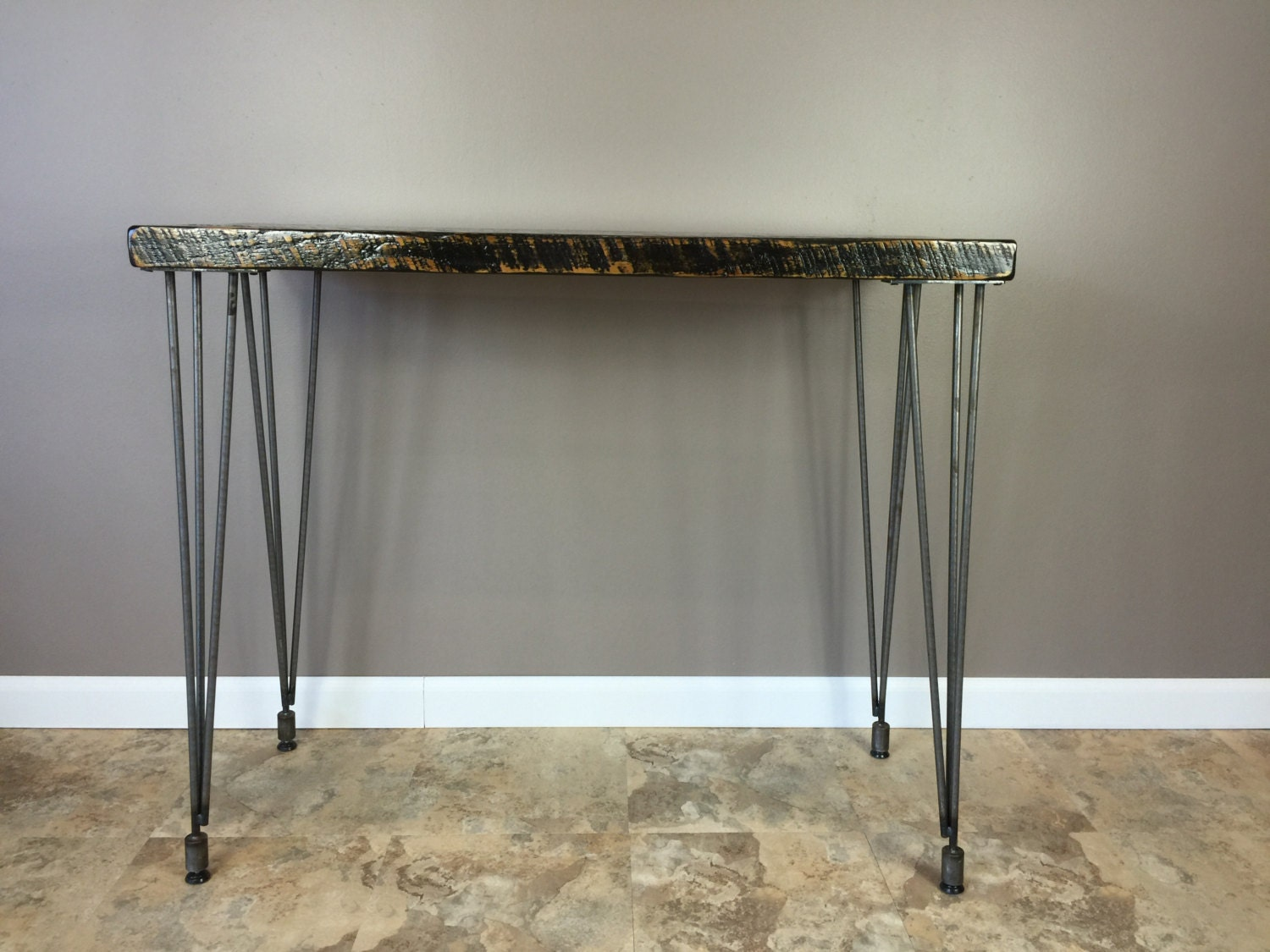 42 Inch High Reclaimed Wood Table With Leveling Hairpin Legs