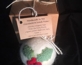 Needlefelted Rustic Christmas Tree Snowball Bauble