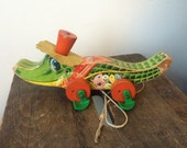 Rare Vintage fisher price Allie Gator pull along toy. Alligator. Animal. 1960  1960 midcentury