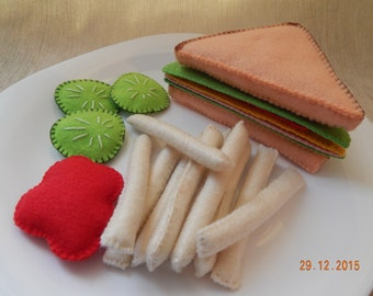 Felt sandwich with French fries. (+Gift ). Educational toys for children. Felt sandwich. Felt food. Felt toy.