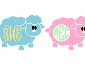 Cute Sheep Monogram SVG, Studio 3, DXF, AI, Ps and Pdf Cutting Files for Electronic Cutting Machines