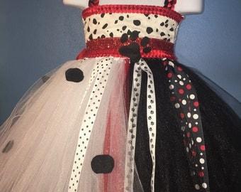 Cruella De Ville tutu dress, Dalmations tutu dress, Black and white tutu dress, Villain tutu dress, black and white villain costume