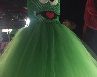 Oscar the Grouch tutu dress, sesame st tutu dress