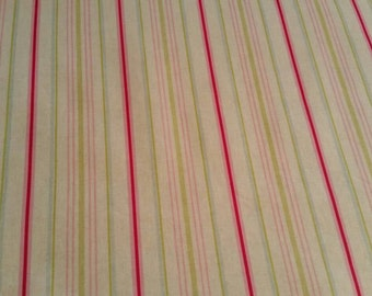 Oilcloth PVC Fabric. Ashley Wilde Sorbet Stripe Designer Table Protector Fabric. Wipeable. Bright Pink Green Blue Stripes. Full/half metre
