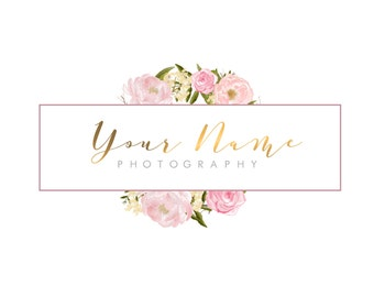Branding Package, Photography Logo and Watermark, Watercolour, Floral, Premade, Marketing, Pink and Gold