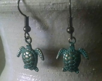 Green Patina Turtles