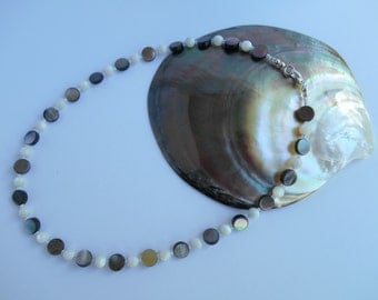 Black lipped shell and mother of pearl necklace