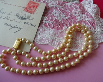 Vintage Monet Pearl Necklace, Simulated Pearl Necklace individually knotted, Faux Pearl Necklace, Glass Pearl Necklace