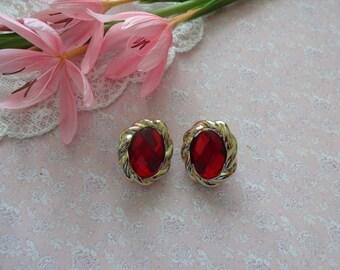 Vintage Red Clip on Earrings, Ruby Red Earrings