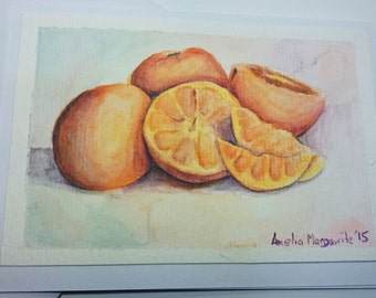 Greeting Card, Oranges, Fruit, Birthday, Get Well, Original